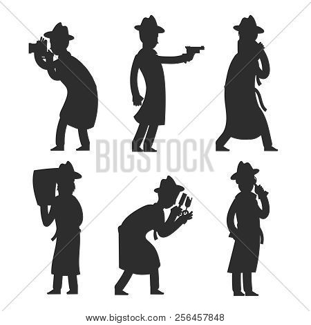 Detective silhouettes isolated on white. Policeman silhouettes vector illustration. Detective police investigator, private inspector stock photo