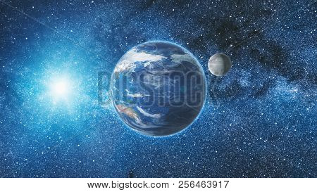 Sunrise view from space on Planet Earth and Moon rotating in space. Blue sky Milky Way with thousand stars in the background. Astronomy and science concept. Elements of image furnished by NASA stock photo