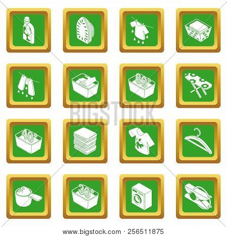 Laundry icons set green square isolated on white background stock photo
