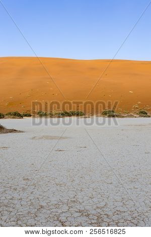 helicopter view of sossusvlei area in Namibia stock photo