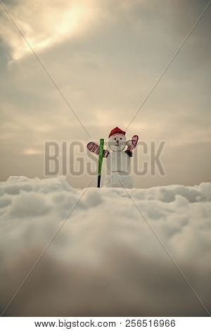 Winter activity, sport and fighting. Happy holiday and celebration. New year snowman from snow in cap and mittens. Snowman with baseball bat. Christmas or xmas decoration. stock photo