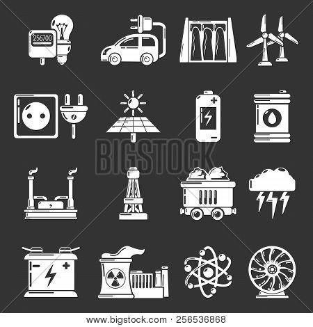 Energy sources icons set white isolated on grey background stock photo