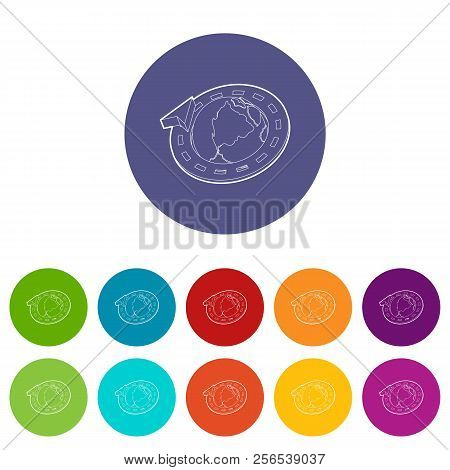 Road around earth globe icons color set for any web design on white background stock photo