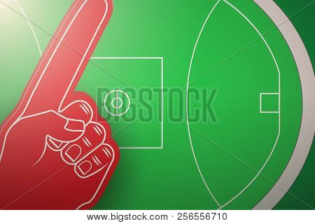 Icon of Australian rules football field stadium with fun finger. Vector illustration isolated on background. stock photo