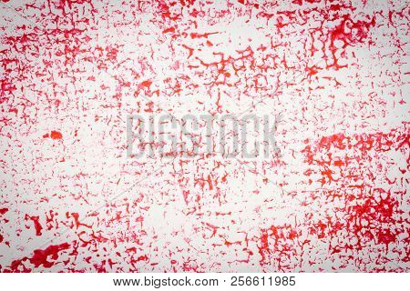 Red abstract spotted acrylic art background. Color texture. Fragment of artwork. Spots of paint.Modern art. Contemporary art. stock photo