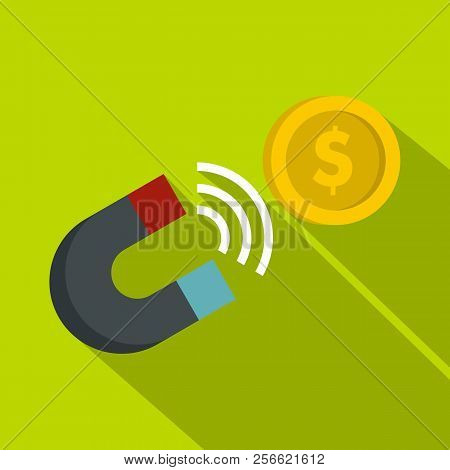 Magnet with coin icon. Flat illustration of magnet with coin icon for web stock photo
