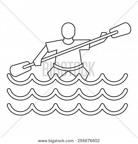 Kayak slalom icon. Outline illustration of kayak slalom icon for web stock photo