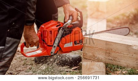 Man builder of houses saws tree with chainsaw. banner stock photo
