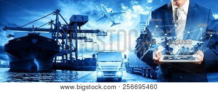 Global business of Container Cargo freight train for Business logistics concept, Air cargo trucking, Rail transportation and maritime shipping, Logistics business concept, distribution, delivery, service, shipping, logistic, transport, stock photo