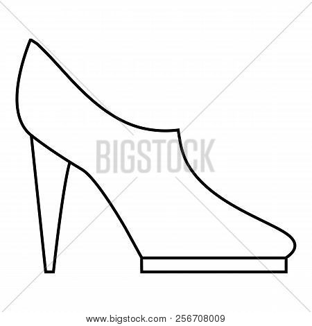 Women high heeled shoes icon. Outline illustration of women high heeled shoes icon for web stock photo