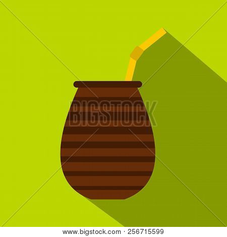 Chimarrao for mate or terere icon. Flat illustration of chimarrao for mate or terere icon for web isolated on lime background stock photo