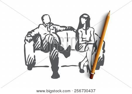 Producer, film, actress, sexual, harassment concept. Hand drawn isolated vector. stock photo