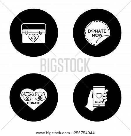Charity glyph icons set. Organ donation, charity for pets, donate now round sticker, smartphone donation app. Vector white silhouettes illustrations in black circles stock photo
