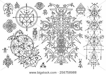 Design set with gothic abstract patterns and mystic symbols on white. Esoteric, occult and Halloween concept with sacred geometry elements, graphic vector illustrations for music album cover, t-shirts stock photo