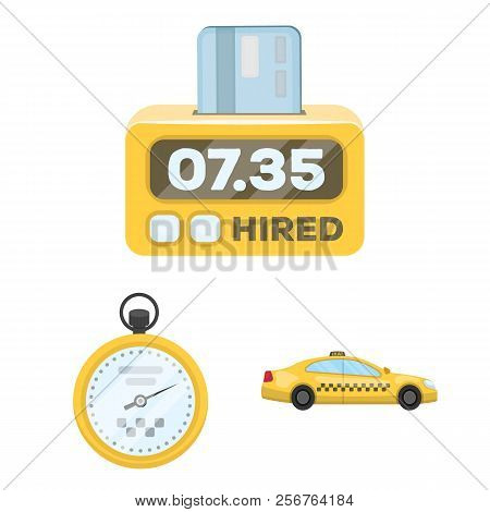Taxi service cartoon icons in set collection for design. Taxi driver and transport vector symbol stock web illustration. stock photo