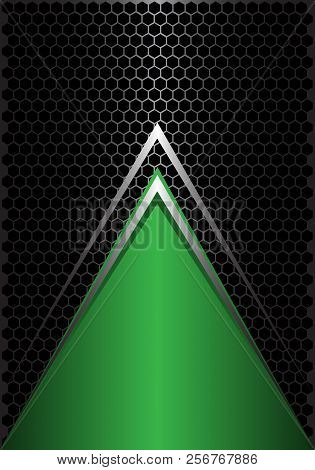 Abstract green triangle silver arrow on black hexagon mesh design modern futuristic background vector illustration. stock photo