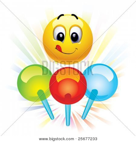 Smiley ball and motley lollypops stock photo