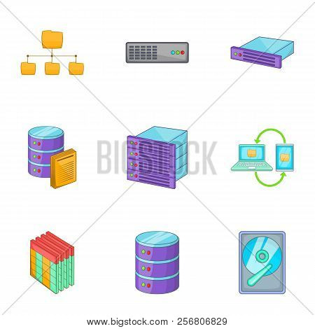 Network server infrastructure icons set. Cartoon illustration of 9 network server infrastructure icons for web stock photo