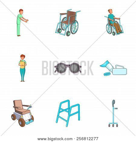 Care, help and accessibility icons set. Cartoon illustration of 9 care, help and accessibility icons for web stock photo