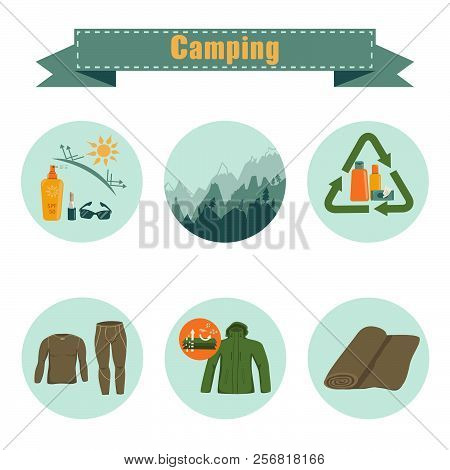 Set of clothes and equipment icons for body care in hiking, camping etc. Waterproof and windproof membrane jacket, thermal underwear, microfiber towel etc. Flat color vector illustration isolated on white background stock photo