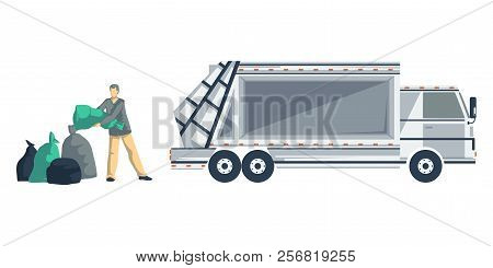 Garbage man loading trash bags to the garbage truck. Isolated objects on white background. Garbage recycling concept. Vector illustration stock photo