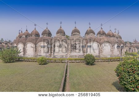 108 Shiva Temples of Kalna, Burdwan , West Bengal. A total of 108 temples of Lord Shiva (a Hindu God), are arranged in two concentric circles - an architectural wonder. stock photo
