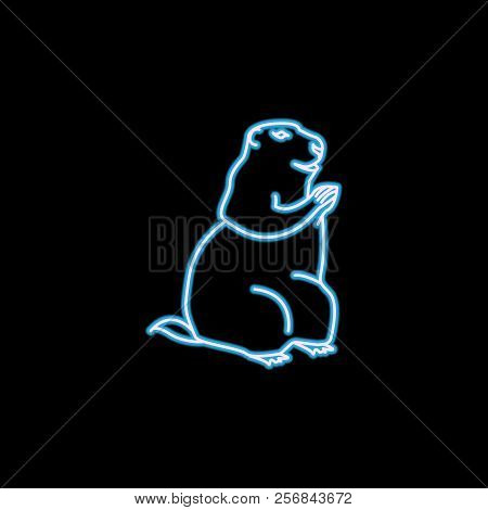 marmot icon in neon style. One of rodents collection icon can be used for UI, UX stock photo