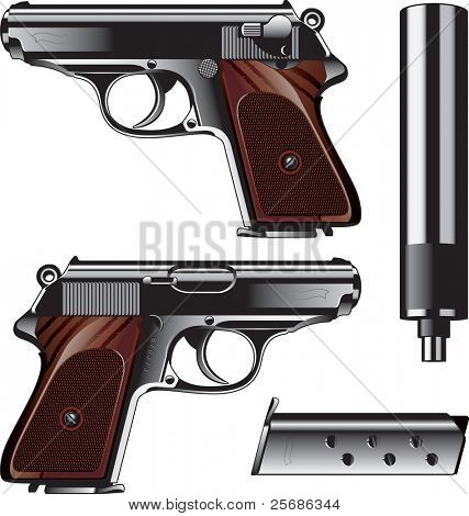 German pistol created for Kriminal Polizei. It is  used by Luftwaffe too. stock photo