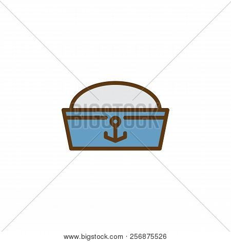 Sailor hat filled outline icon, line vector sign, linear colorful pictogram isolated on white. Costume party symbol, logo illustration. Pixel perfect vector graphics stock photo