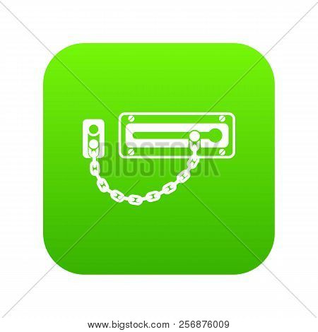 Door latch icon green isolated on white background stock photo