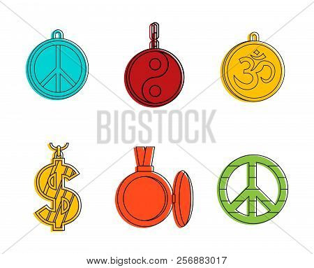 Medallion icon set. Color outline set of medallion icons for web design isolated on white background stock photo