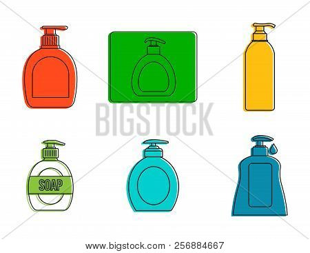 Dispenser icon set. Color outline set of dispenser icons for web design isolated on white background stock photo