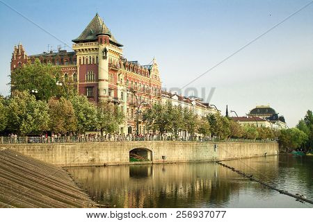 Prague summer colorful cityscape. Czech republic in summer stock photo