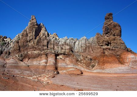 Barren volcanic landscape with traces of lava streams. (Teide national park) stock photo