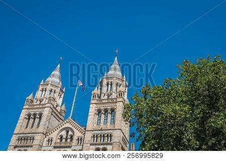 High tower of the impressive building of the Natural History Museum in London, England stock photo