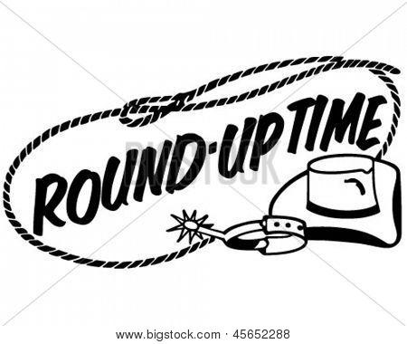 Round-Up Time Banner - Retro Clip Art Illustration stock photo
