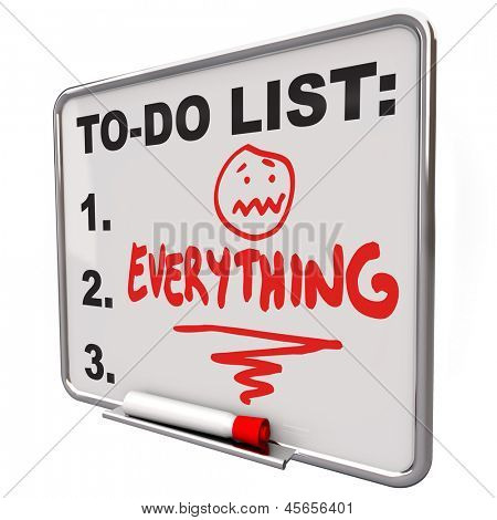 The word Everything on a To-Do list on a dry erase board to remind you of your tasks, priorities, go