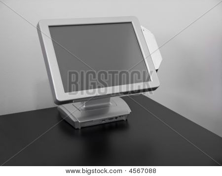Touch-screen LCD display cash register for restaurants stock photo