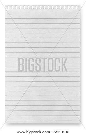white blank paper background from spiral notebook stock photo