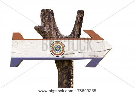 Paraguay wooden sign isolated on white background stock photo