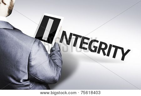 Business man with the text Integrity in a concept image stock photo
