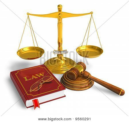 Golden weight scales, code of laws, glasses and wooden mallet isolated over white background stock photo