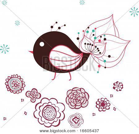 simple bird deco graphic stock photo