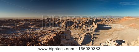 Panorama of the Valle de la Muerte Atacama desert Chile