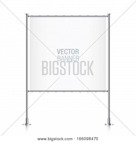 White vector advertising banner. Square banner, with metal construction isolated on background. stock photo