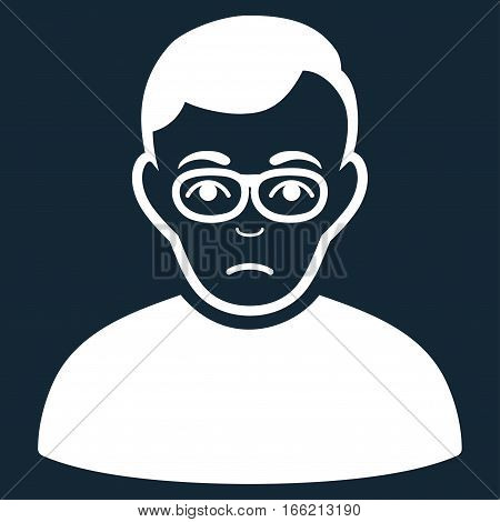 Downer vector icon. Flat white symbol. Pictogram is isolated on a dark blue background. Designed for web and software interfaces. stock photo