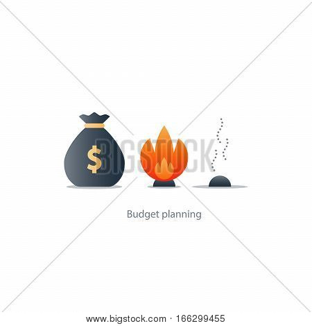 Burning money, excessive spending, waste budget, financial planning, payoff debt, risk investment, inflation concept vector illustration icons stock photo