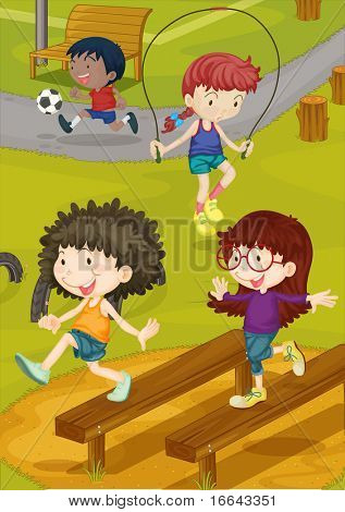 Illustration of kids playing on a ground stock photo