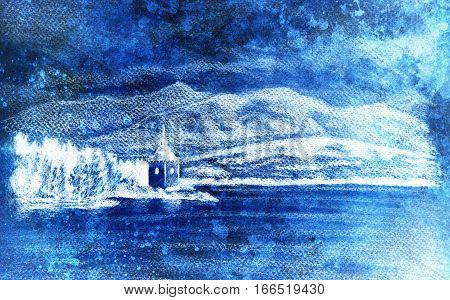 landcsape scenery with lake, chapel and mountains, pencil drawing, magical color effect stock photo