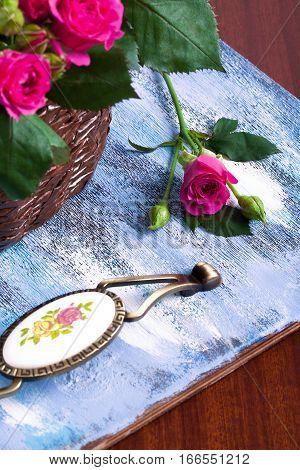 Pink Roses In Brown Basket On Blue Wooden Background.-Lg Fridge Magnet Skin (size 36x65)